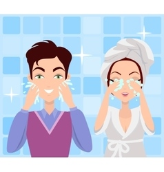 Man and woman washing their faces cleaning vector