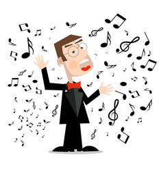 Man in suit with notes singer cartoon isolated on vector