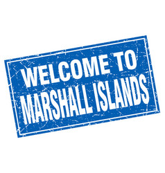 Marshall islands blue square grunge welcome to vector