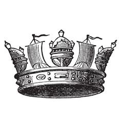 Naval crown vintage engraving vector