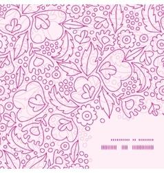 Pink flowers lineart frame corner pattern vector