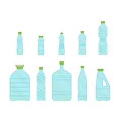 Plastic different bottles set for liquid vector
