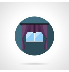 Purple window treatment round flat icon vector image vector image