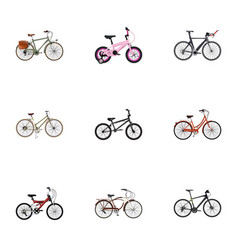 Realistic for girl journey bike retro and other vector