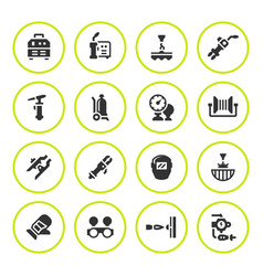 set round icons of welding vector image