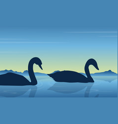 Silhouette of swan scenery collection vector