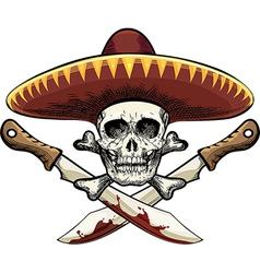 Skull with machete vector