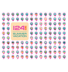 Summer pin map icon set summertime vacation vector