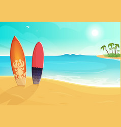 Surfboards in different colors sea and sand beach vector