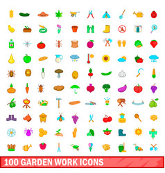 100 garden work icons set cartoon style vector