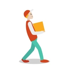 Delivery guy with parcel cartoon vector