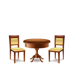 Round table and two chairs isolated on white vector
