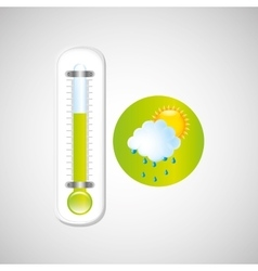 Weather forecast rain sun thermometer green icon vector
