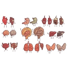 Human internal organs healthy vs unhealthy set of vector