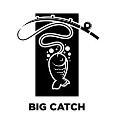 Fishing icon of fish on hook for fisherman club or vector