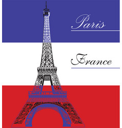 Eiffel tower on french flag background vector