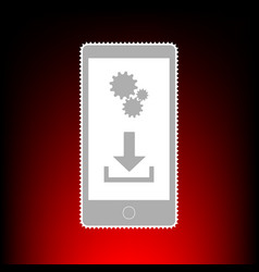 Phone settings download and install apps postage vector