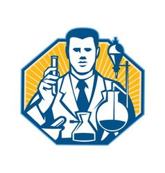Scientist lab researcher chemist retro vector