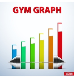 Background of barbell and diagram achieving vector image