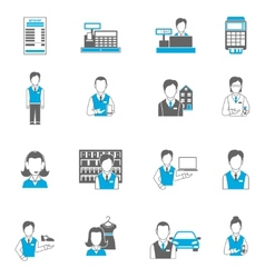 Set icons salesman flat vector