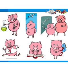 Piglet character student cartoon set vector