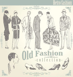 Retro fashion set vector