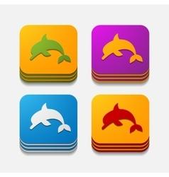 Square button dolphin vector