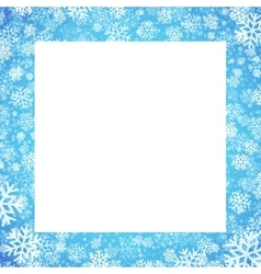 Christmas card with snowflakes frame on blue vector