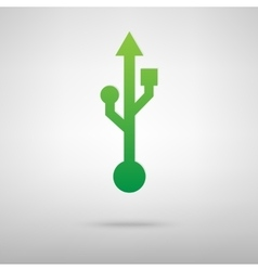 Usb green icon vector