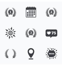 Laurel wreath award icons prize for winner vector