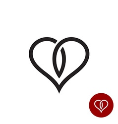 Heart outline logo simple cross black wire style vector