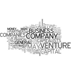 basic venture capital text word cloud concept vector image vector image