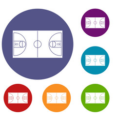 basketball field icons set vector image