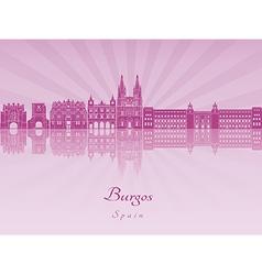Burgos skyline in purple radiant orchid vector image vector image