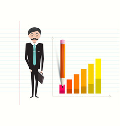 Business man with case and success graph on vector