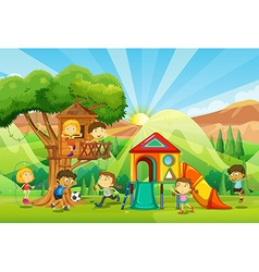 Children playing at the playground vector image