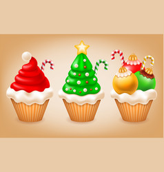 christmas cupcakes set vector image vector image
