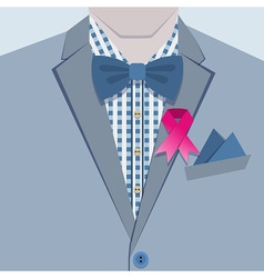 Close up of male blue suit and pink ribbon icon vector