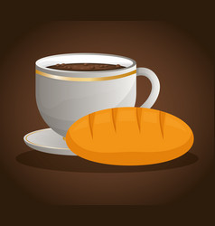 coffee cup bread dessert vector image
