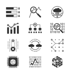 Data analytic silhouette icons vector image