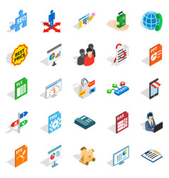 data storage icons set isometric style vector image vector image