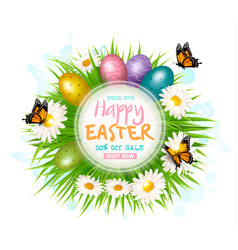 Easter sale card with colofrul eggs and green vector