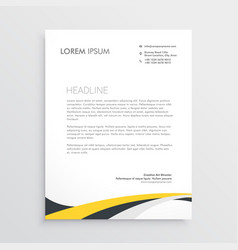elegant yellow and gray waves letterhead design vector image
