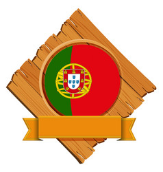 flag of portugal on wooden board vector image vector image