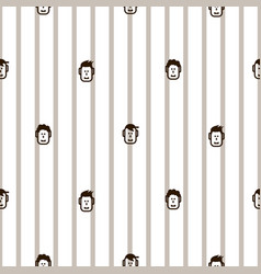 fun icon faces striped seamless pattern vector image vector image