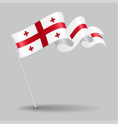 Georgian pin wavy flag vector
