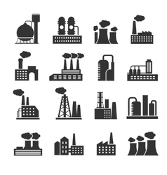 Industrial factory and plant buildings vector