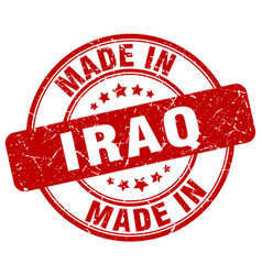 Made in iraq red grunge round stamp vector