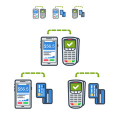 mobile payments set flat icons vector image
