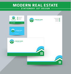 modern real estate stationery set design vector image